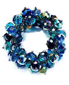 c.A.K.e. by Ali Khan Bracelet, Hematite Tone Peacock Glass Cluster Stretch Bracelet - Fashion Bracelets - Jewelry & Watches - Macy's