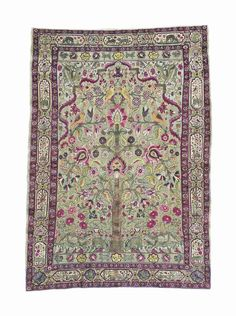 SILK AND METAL-THREAD SOUF KASHAN RUG  CENTRAL PERSIA, CIRCA 1890  Of 'Tree of Life' design,   6ft.8in. x 4ft.7in. (204cm. x 140cm.)