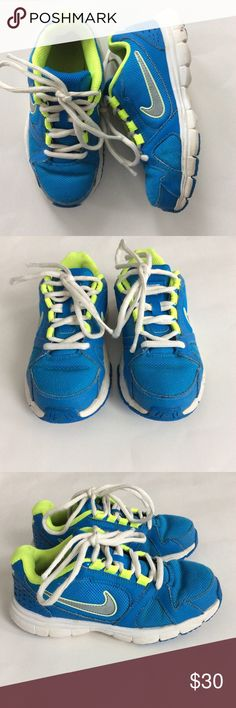 👫Nike Tennis Shoes Nike Tennis Shoes. Bright blue and fluorescent green colors. Lace up. Size 13 Kids. Great condition with normal wear. Nike Shoes Sneakers