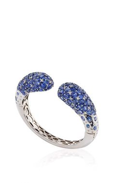 Blue Sapphire and White Diamond Bracelet in 18K White Gold by Giovane for Preorder on Moda Operandi