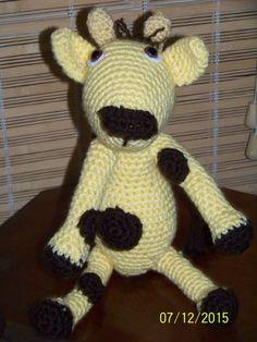 Stuffed giraffe-crochet in yellow and brown by MadeinMassachusetts