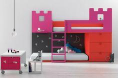 Litera infantil con armarios (niña: castillo) - BABY 08 - BM 2000