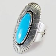 Native American Jewelry Stamped Turquoise Ring  $498.00  Leo Yazzie