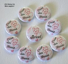 JGA Button 9er Set Herzen – Braut – Crew der Braut - Kreawusel-handmade