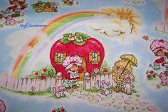 Strawberry Shortcake Emily Erdbeer Regenbogen Kinder Patchwork Stoff