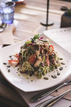 Raw zucchini noodles, at Combi - Elwood