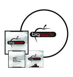 "by Argiro Stavrakou, year 2004, ""Big Apple"" bar - restaurant logo, B. cards & placemats."
