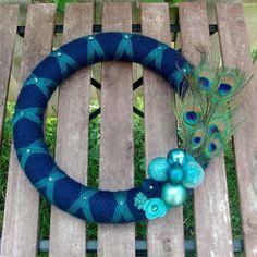 peacock feather wreath