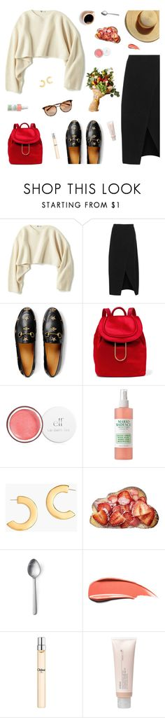 """""""Untitled #821"""" by kawrose02 ❤ liked on Polyvore featuring Uniqlo, A.L.C., Gucci, Diane Von Furstenberg, Mario Badescu Skin Care, J.Crew, Menu, Chloé, Aveda and minimal"""