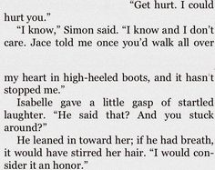 Did this remind anyone of when Augustus says it would be an honor to have my heart broken by you hazel grace? Shadowhunters Series, Augustus Waters, Hazel Grace, Cassie Clare, Cassandra Clare Books, The Dark Artifices, Heart Broken, City Of Bones, The Infernal Devices