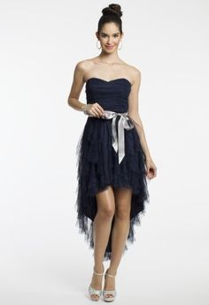 Strapless Glitter High-Low Dress with Ribbon Belt from Camille La Vie and Group USA