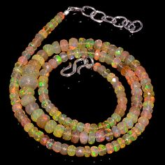 """52CRTS 3.5to7MM 18"""" ETHIOPIAN OPAL FACETED RONDELLE BEADS NECKLACE OBI3094 #OPALBEADSINDIA"""