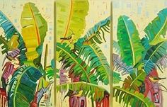 My backyard by Rene Wiley (Original triptych, 36x18 inches each, oil on panel) by René Wiley Gallery Unenhanced Giclée ~  x