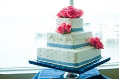 such a sweet cake wrapped in seersucker ribbon, by Cakes by Carolynn. Photo by Caroline & Evan Photography