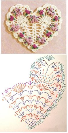 Crochet Heart Motif - Free Crochet Diagram - Then just add your…pretty crochet heart by Stoeps; i like the miniature flower budsDiscover thousands of images about pretty crochet heartPatrones Crochet Corazones San Valentin - Crochet and KnitDelicad Crochet Square Patterns, Crochet Stitches Patterns, Crochet Squares, Thread Crochet, Crochet Motif, Crochet Crafts, Crochet Doilies, Crochet Flowers, Easy Crochet