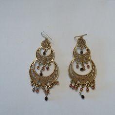 Vintage gold chandelier earrings amber glass bead dangle filigree costume jewelry Spring Summer Beach Boho on Etsy, $6.70