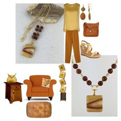 Comforting Colors with Yellow, Rust and Beige Rhyolite Pendant Necklace by Rock2Gems.com