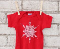 Snowflake Baby One piece Bodysuit Cotton Infant by CausticThreads, $18.00