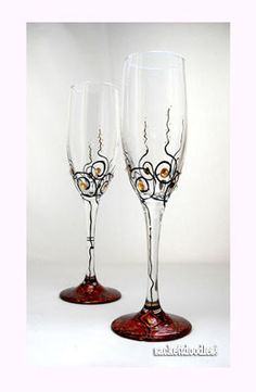 Romantic Flute Glasses with Faceted Crystals Hand Painted Glassware, GalaxSea Collection