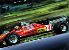 GILLES VILLENEUVE ON FERRARI 126 C2, FORMULA 1 1982 Artwork by Andrea Del Pesco, Oil on Canvas, Size cm. 39,5x39,5