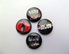 Vintage G.I. Joe Pinback Buttons. Like us at https://www.facebook.com/ButtonNinjas