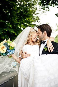 Adorable happy couple at joyful Connecticut wedding with photos by JAG Studios | via junebugweddings.com