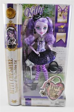 Ever After High Rebel Kitty Cheshire Doll - she is so cool!  Love her lavender tint and Cheshire Cat accessories.