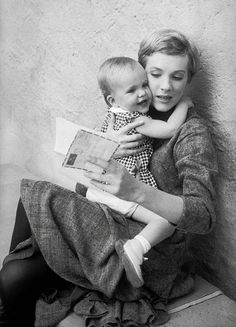 Julie Andrews with her daughter, Emma, in the sets of The Sound of Music, c. 1964