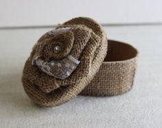 Burlap Napkin Rings With Wood Roses 4 Pack