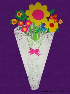 Un mazzo di fiori facile da realizzare creato con cartoncini colorati. Idea da tenere presente come lavoretto per la Primavera e per la Festa della Mamma. LAVORETTI PER LA FESTA DELLA MAMMA Come re...