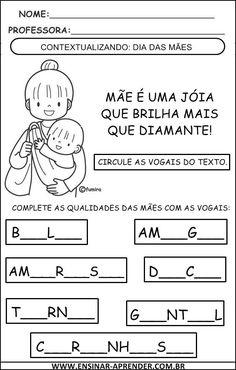 Mom Day, Mathematics, Professor, Education, Gabriel, Preschool Literacy Activities, Reading Activities, Language Activities, Note Cards