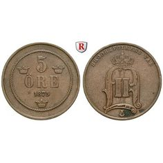Schweden, Oskar II., 5 Öre 1875, ss: Oskar II. 1872-1907. Bronze-5 Öre 1875. Sieg 14; sehr schön 20,00€ #coins