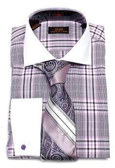 Steven Land Lavender Plaid 100% Cotton Dress Shirt and Tie Combo