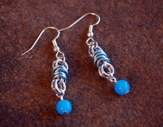 Silver and Sky Blue Dangle Earrings with Malaysia Quartz Beads by GeekyGaeaDesigns