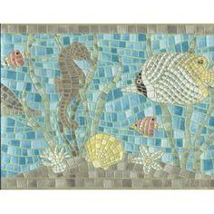 Wallpaper Border Cushion Textured Mosaic Tile Ocean Fish Seahorse Dolphin Turtle