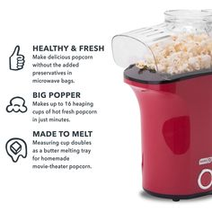 DASH Popcorn Machine: Hot Air Popcorn Popper Popcorn Maker with Measuring Cup to Measure Popcorn Kernels Melt Butter Red >>> Learn more by visiting the image link. (This is an affiliate link) Popcorn Kernels, Popcorn Maker, Hot Air Popcorn Popper, Movie Theater Popcorn, Specialty Appliances, Small Kitchen Appliances, Melted Butter, Measuring Cups, Image Link