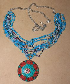 necklace pendant jewelry handmade beaded elegant artistic red coral Turquoise A2 #Handmade