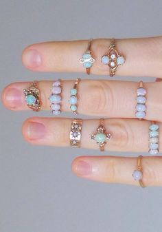 Victorian Opal Star Ring. Rose Gold Baby Midi Ring. 14k Gypsy