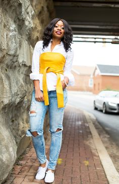 """What I Am Wearing: Jeans (here, more here & here) // Top (here) // Shirt (similar here or here & here) // Heels ( similar here, budget friendly here & here) // NARS lipstick in """"Bette""""… B Fashion, Fashion Advice, Fashion Outfits, Brown Girl, Girl Blog, Cropped Top, Piece Of Clothing, Summer Wear, Boyfriend Jeans"""