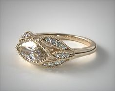 Vintage Engagement Setting in White Gold - Ring price excludes center diamond. Engagement Ring Shapes, Designer Engagement Rings, Halo Engagement, Wedding Rings Vintage, Vintage Engagement Rings, Marquee Engagement Rings, Unusual Engagement Rings, Gold Ring Price, Ring Rosegold