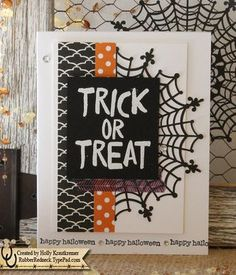 Marvelous Trick Or Treat Greeting Card Halloween Spider Web Bat Happy Halloween  October 31 Handmade In Black Purple Orange White By Rubberredneck On Etsy Gallery