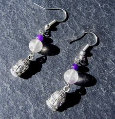 Amethyst and Fluorite Buddha Earrings by KatCKsWraps on Etsy, $8.00