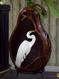 "*Gourd Art - ""Egret #2"" by Christine Rebert"