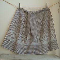 vintage brown hand embroidered gingham apron