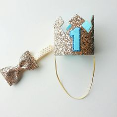 Ready to ship Glittery Birthday Boy Crown and Bow tie set,  First Birthday, Birthday, cake smash, 1st birthday, birthday