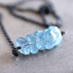 Blue Aquamarine Necklace, Sky Blue March Birthstone Nugget Oxidized Sterling Silver Necklace Aquamarine Jewelry - Nixie. $55.00, via Etsy.