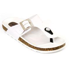 White Original Birkenstock-Style Giseh Sandals | Danice Stores