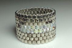 Beaded ring band diamond sparkle crystal Wedding by createdbycarla