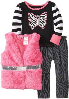 3 peça impressão Borboleta Zebra Jovens Corações Little Girls 'Vest e Pant Set, Rosa, 3T