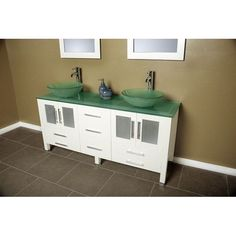 Cambridge 71 inch Solid Wood & Frosted Glass Double Vessel Sink Vanity Set with Brushed Nickel Faucets.